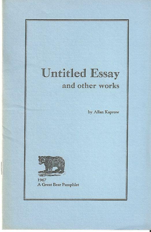 Kaprow Essays